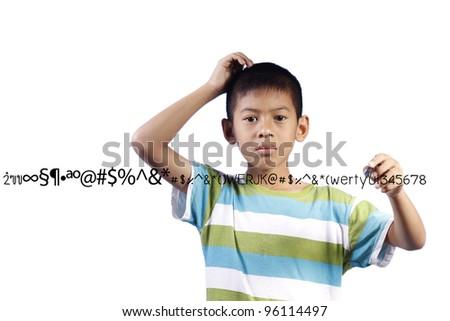 Kid writes something on white background - stock photo