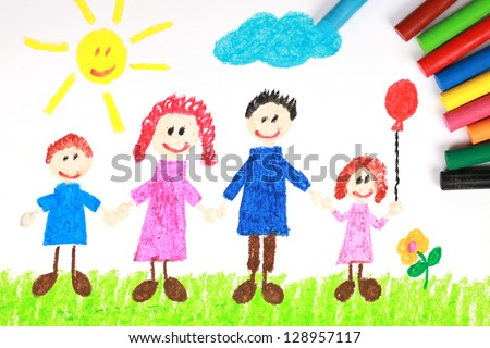 Kiddie style crayon drawing of a happy family on a green meadow - stock photo