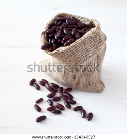 Kidney beans in a bag - stock photo
