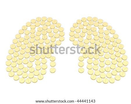 kidney is composed by tablets over white - stock photo