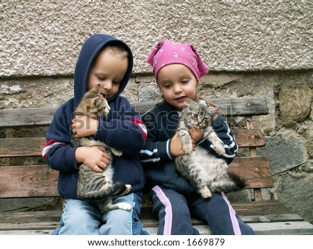 kids and cats - stock photo