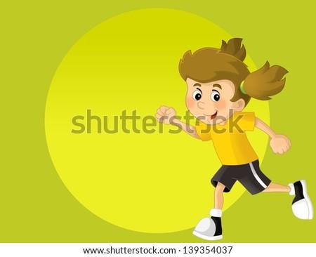 Kids and sport - gymnastics - illustration for the children - stock photo