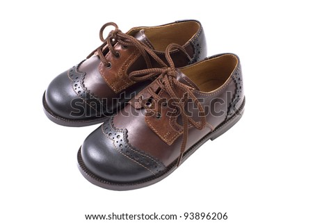 Kids autumn or spring luxury leather brown shoes isolated on white - stock photo