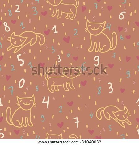 Kids cartoon arithmetical seamless pattern - stock photo