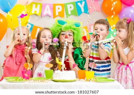 kids celebrate birthday party - stock photo