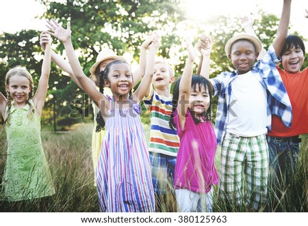 Kids Children Fun Playing Happiness Togetherness Concept - stock photo