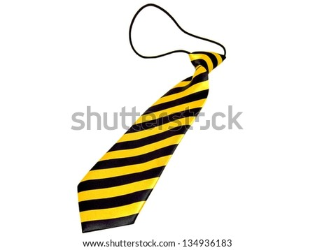 Kids / children's / boys yellow and black striped necktie isolated on a white background - stock photo
