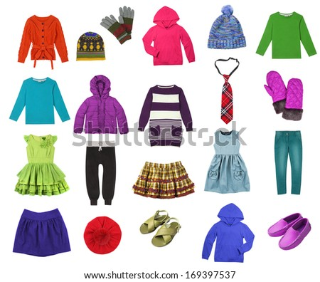Kids clothes set isolated on white - stock photo