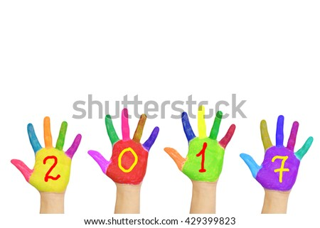 Kids colorful hands forming number 2017. Isolated on white background. The symbol of the new year - stock photo