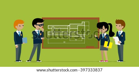 Kids construct project on board. Kid construction, child constuction, board architecture, education kids structure, school builder, architect and building kid, plan construction illustration - stock photo