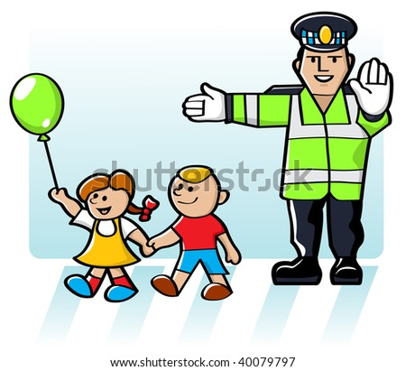 Kids Crossing The Road In Safety - stock photo