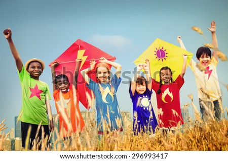 Kids Diverse Playing Kite Field Young Concept - stock photo