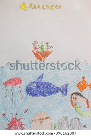 Kids drawing on white sheet of paper, closeup.Bright Children Sketch With Fish,Shark,Jelly Fish,Crab,Mermaid in the sea. - stock photo