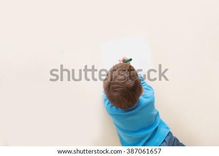 Kids drawing with markers, art concept, view from above, Preschoolers, kindergarteners. - stock photo