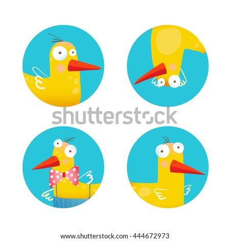Kids Duck Funny Icons Set. Bird animal cartoon fun circle icons illustration. Raster variant. - stock photo