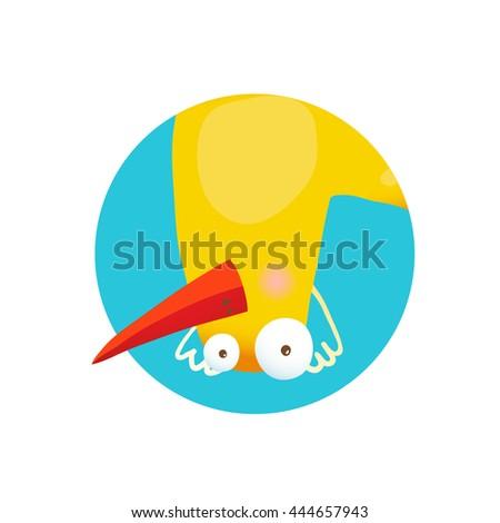 Kids Duck Upside Down Funny Icon. Bird duckling adorable cute childish cartoon circle icon illustration. Raster variant. - stock photo
