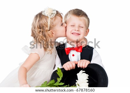 kids first kiss isolated on white background - stock photo