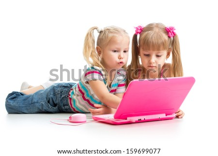 kids friends looking at the laptop - stock photo
