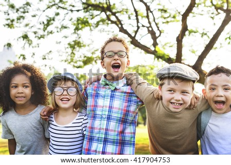 Kids Fun Playful Happiness Retro Togetherness Friendship Concept - stock photo