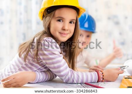 Kids future engineers - stock photo