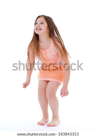 Kids,girl,child and kid - Young girl jumping on vacation. Isolated on white background. - stock photo