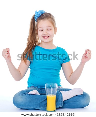 Kids,girl,child and orange.- Young girl with glass of orange juice. Isolated on white background. - stock photo