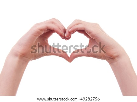 kids hands in shape of heart over white background - stock photo