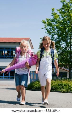kids having fun at school - stock photo