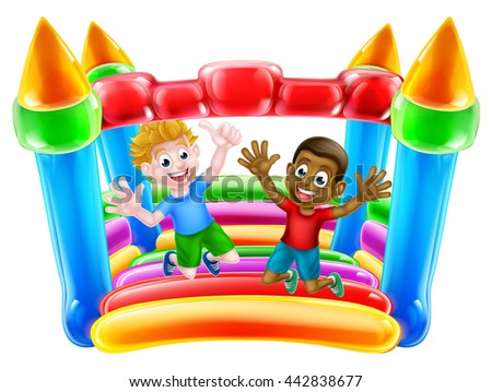Kids having fun on a bouncy castle or house - stock photo