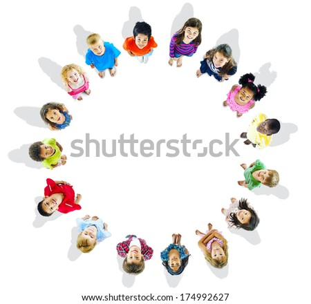 Kids in a Circle - stock photo