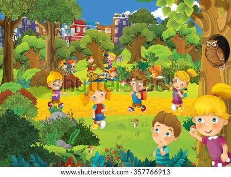 Kids in the park - illustration for the children  - stock photo