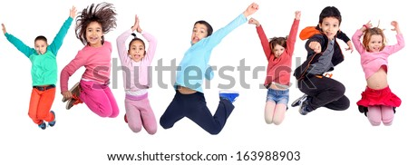 kids jumping - stock photo