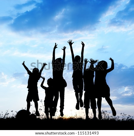 Kids jumping together - stock photo