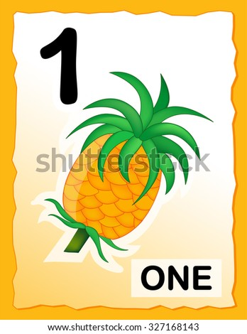 Kids learning material.. printable number one card with an illustration of a pineapple - stock photo