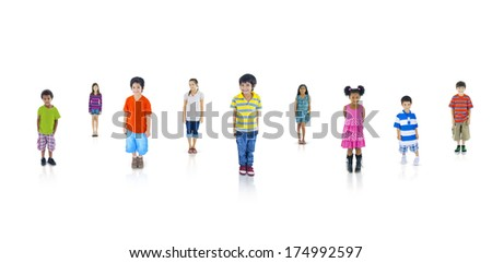 Kids Looking Up - stock photo