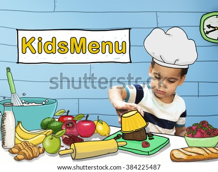 Kids Menu Cooking Child Culinary Food Concept - stock photo