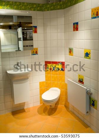 Kids modern bathroom - stock photo