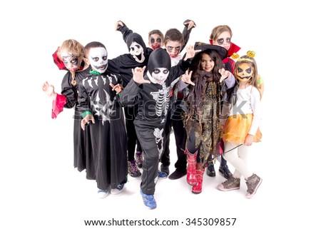 kids on halloween - stock photo