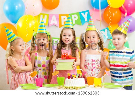 kids or children on birthday party - stock photo