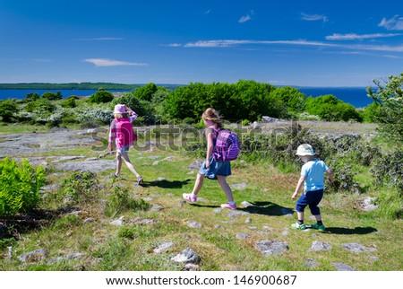 Kids outdoor adventure - stock photo