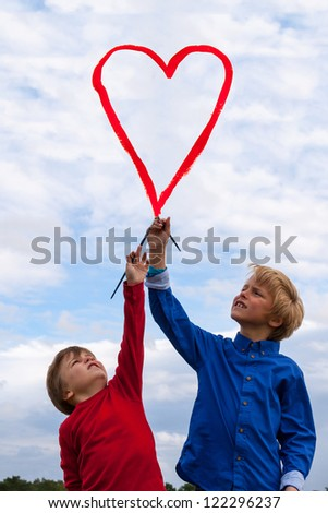 kids painting heart - stock photo