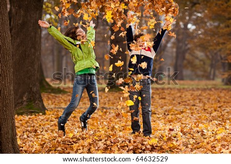 Kids playing in park - stock photo