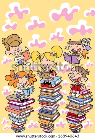 kids reading books education, school, learning concept illustration - stock photo