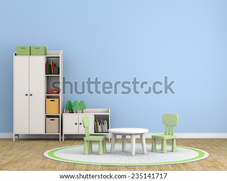 kids room 3d rendering image - stock photo