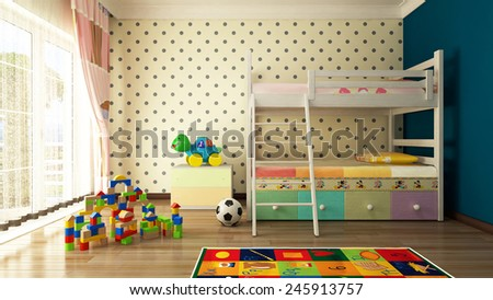 Kids room design and 3D rendering - stock photo