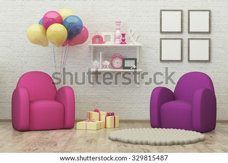 kids room interior 3d render image with frames, armchair, balloons, presents and decoration - stock photo