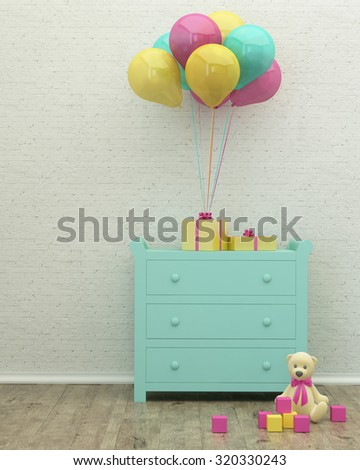 kids room mint interior 3d rendering image with presents, balloons and a toy - stock photo
