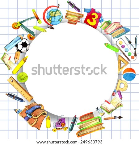 kids school background with with school supplies for pupil. watercolor - stock photo