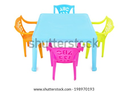 Kids Table & Chairs / Kids Table with  Four Colorful Chairs Isolated on White Background - stock photo