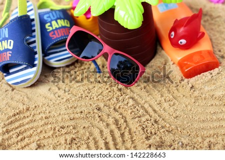 Kids vacations on beach - stock photo